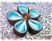 Kanzashi Flower The Chocolate Brown Series Rounded Petal 2 layers in Satin Fabric Flower Hair accessories Clip
