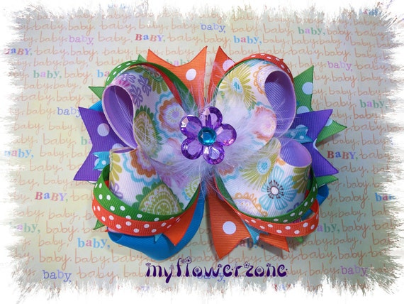 Stacked Boutique Hair Bow OTT- Grosgrain Layered HairBow Over The Top- Flower ribbon green, orange, purple and blue Hair bow- Hair accessory