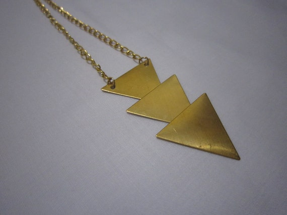 Triangle Necklace - Brass Gold - Layered/Tier Necklace