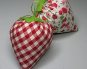 SALE - Reduced from 12 - 2 Fabric Strawberries - Strawberry - Pincushion -  Ornament - Home decor - Red gingham