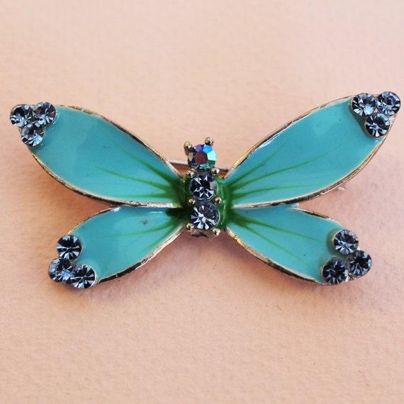 Vintage 1970s turqouise silvertoned butterfly blue rhinestone brooch