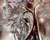 Inspiral fantasy tree - mixed-media collage illustration - lustre print