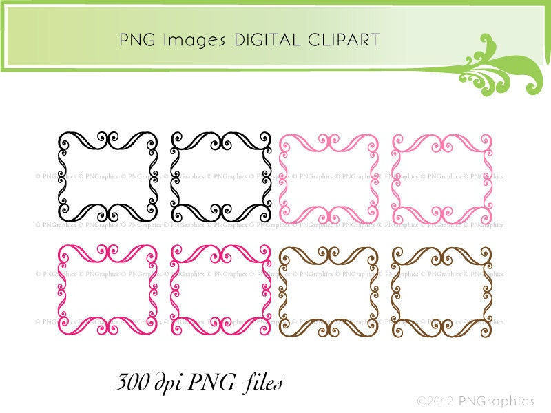 Scrapbook Frame Png 8 Swirly Frames Digital Clip Art Png Images May 20