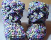 Toddler's Slippers/Booties in Monet - Crocodile Stitch - size small