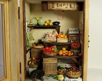 Vintage Small old Shop- Fruit and Vegetable -handmade Dollhouse Miniatures