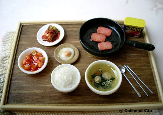 Ooak precious Asian foods with kimchi delicious Meal- Dollhouse Miniatures 1/12