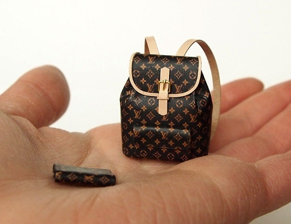 LV (No.6) Ooak Designer Backpack with Wallet  Artisan handmade 1/12 Dollhouse Miniatures