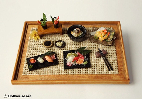 Sushi, Sashimi (No.1) Maki Japanese food sets-Handcraft Dollhouse Miniatures 1/12