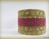 Gold-pink cross-stitch  OOAK silk cuff  - ready to ship