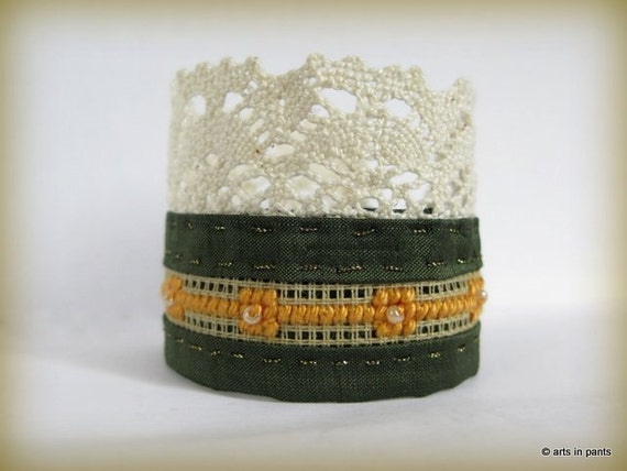 Yellow cross stitch - one of a kind silk hand embroidered cuff - READY TO SHIP
