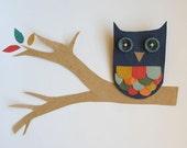 Little Blue Owl Faux Leather Brooch