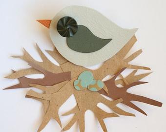 Leather Bird Brooch - Bird Brooch - Little Swift Bird Brooch - Cute Bird Brooch - Handmade Bird Brooch - Pale Mint Bird