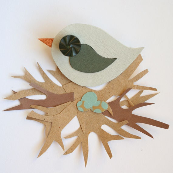 Leather Bird Brooch - Bird Brooch - Little Swift Bird Brooch - Cute Bird Brooch - Handmade Bird Brooch - Pale Mint Bird