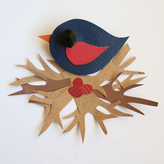 Blue and Rose Little Swift Faux Leather Bird Brooch