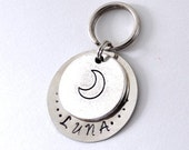 Personalized pet id tag Luna moon