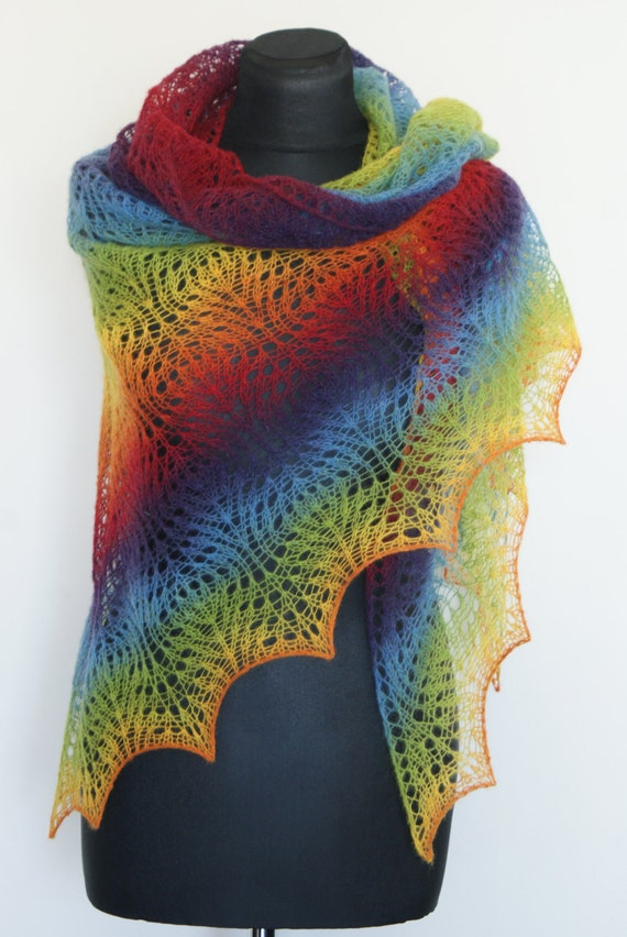 Rainbow Shawlette Hand Knitted Triangular Estonian Wool Lace Shawl Colorfull Kauni. READY TO SHIP. Free Shipping.