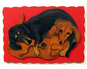 Yin Yang Dachshunds Painting on Wood Doxies