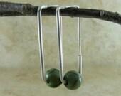 Green Square Hoop Earring in Sterling Silver