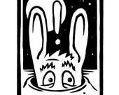 "Open edition ""Scared Rabbit"" hand printed linocut print"