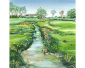 Calm Stream - Landscape River Giclee Print in blue and green