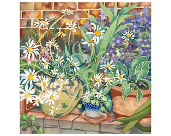 Daisy Flower Garden Limited Edition Print Watercolour Painting
