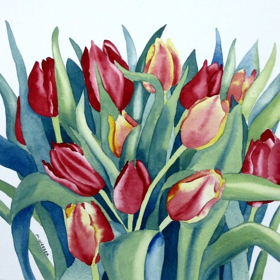 Tulips Watercolour Flower Painting in Botanical Style