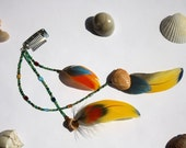 Macaw Feather Extension Clip with Czech Glass Beaded Strands and Shell Accents- The Amazon
