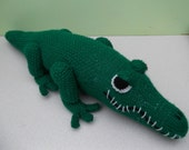 Crocodile Toy Green Hand Knitted