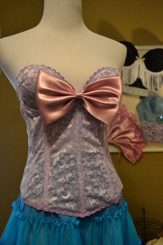 "Custom dyed/ designed ""Lavender splendor in lace "" burlesque bow embellished bustier corset 36A"