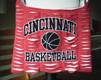 Cincinnati Basketball Red White Recycled Tshirt  Cross Body Bag