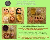 Set of 3 Food Grade Silicon face Molds with Free Instructions on how to make faces