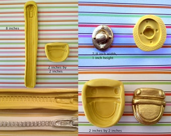 Set of 3 Silicone Molds , Zipper, Purse Buckle and Twist Lock