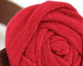 Coral Red UPCYCLED // Handmade Rolled T-Shirt Jersey Fabric Flower on Satin Elastic Headband // Babies Girls Women // Zoe