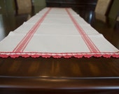 Table Runner French Grain Sack Style Red and Off White Table Runner
