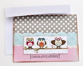 Owls Card - Congratulations Handmade Card - Greeting Card with White Envelope