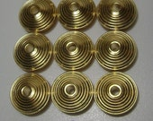 12 Vintage Gold Plated Metal Saucer Beads 24mm x 12 mm