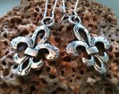 Fleur de Lis Earrings, Silver Jewelry