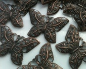 5 Copper-Plated Butterfly Charms 31mm