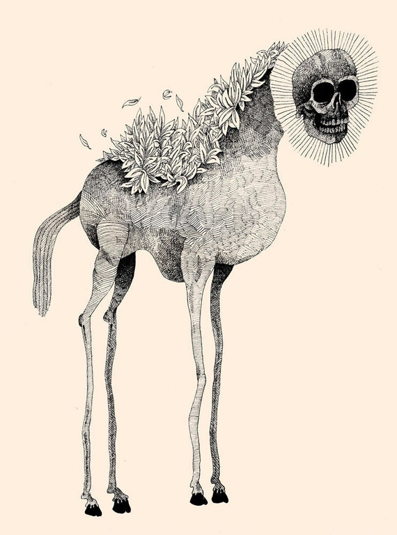 Tall Horse With Skull