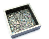SALE Mosaic Box, Centerpiece, Gray and Purple