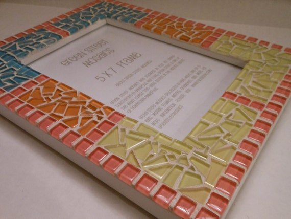 Mosaic Picture Frame - 5 x 7 - Pink, Orange, Blue & Yellow / NURSERY COLORS