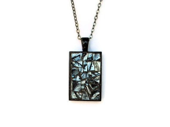 Mosaic Necklace, Rectangular Pendant, Wearable Art