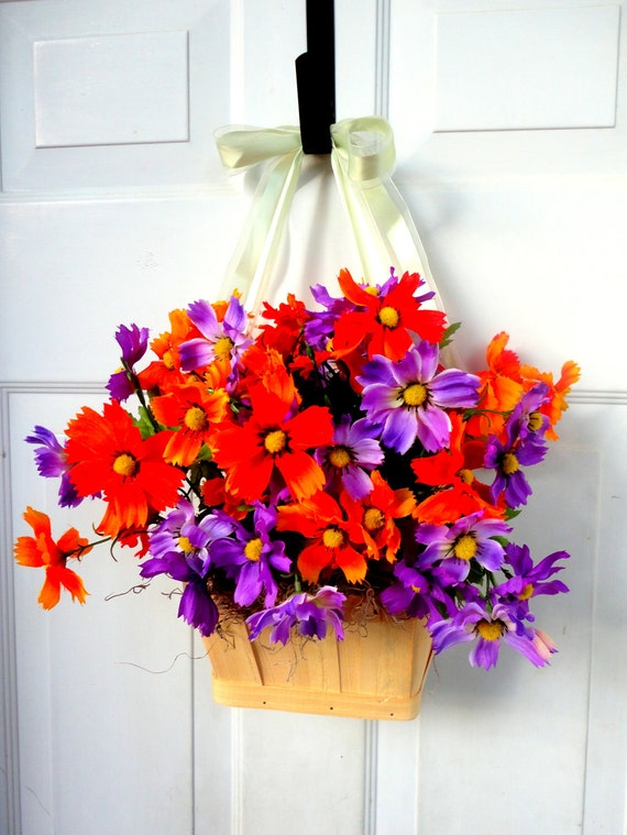 READY TO SHIP! -Door Wreath-Flower Basket-Summer Wreath-Wall Decoration-Wreath Alternative-Centerpiece-Floral Arrangement