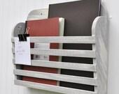 Rustic Hanging Magazine File Holder Gray Grey Vintage Design Storage Organizer Shabby Aged Antiqued