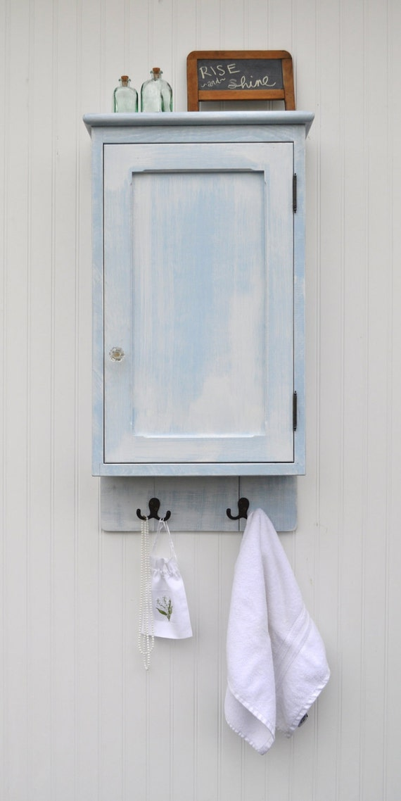 Shabby Wall Cabinet Weathered White Light Blue Door Shelves Hanging Rack Hooks Frame and Panel Aged Ready to Ship