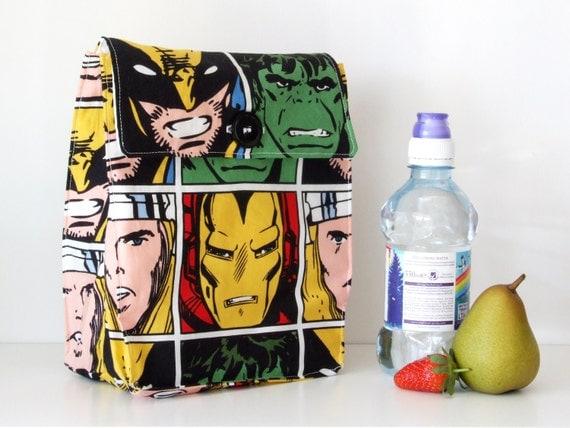 Lunch Bag: Marvel Comic Squares - Washable