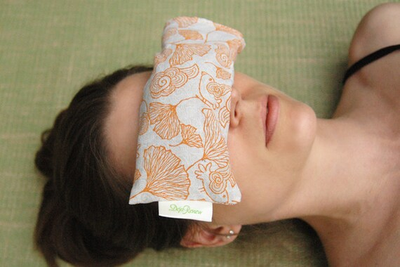 Yoga Meditation Spa Eye Pillow, Orange Ginkgo, Eco Friendly, Washable Shell.