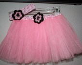 Light Pink ballet tutu with pink and brown crochet flower