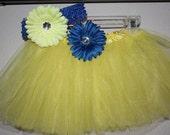 Yellow Ballet Tutu Skirt with Blue flower