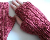 Knit fingerless mitts - cabled - pink merino wool